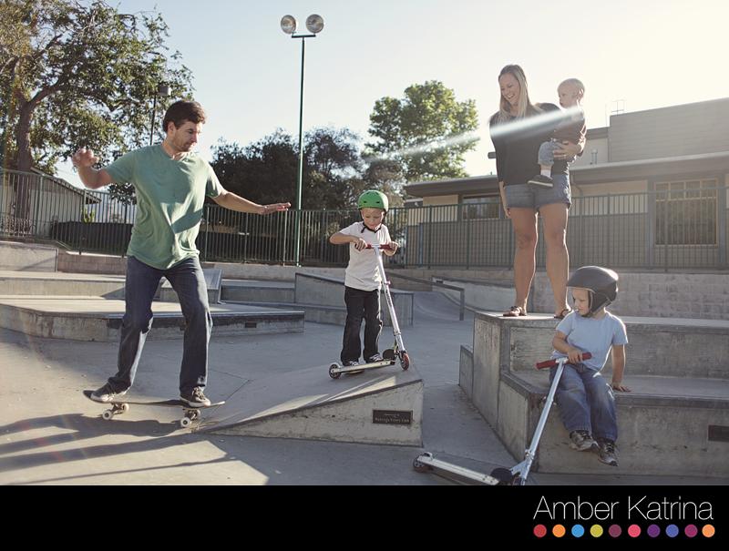 Monrovia skate park family photography skateboarding children