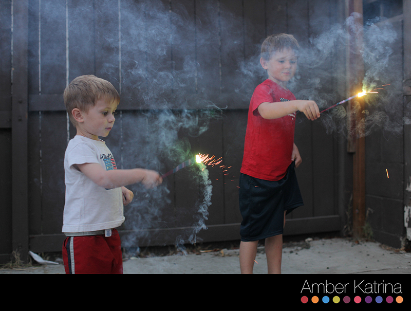 4th of july backyard fireworks with kids