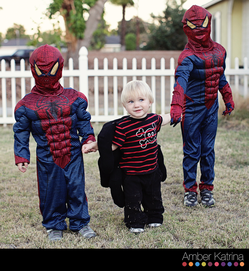 Halloween costume boys spiderman and homemade spider