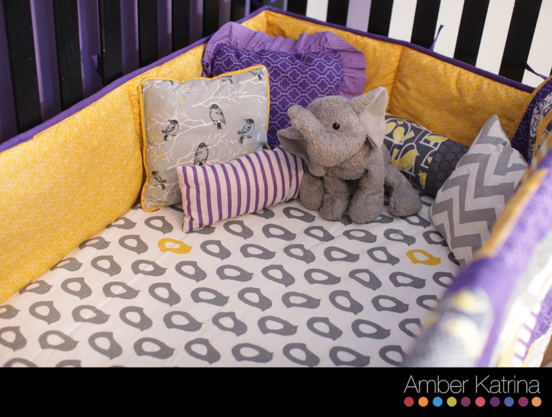 Baby girl's nursery room purple grey and yellow birds