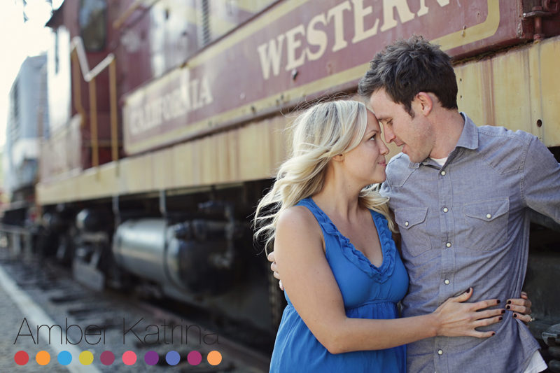 Griffith Park Travel Town Trains Engagement Photography in Los Angeles