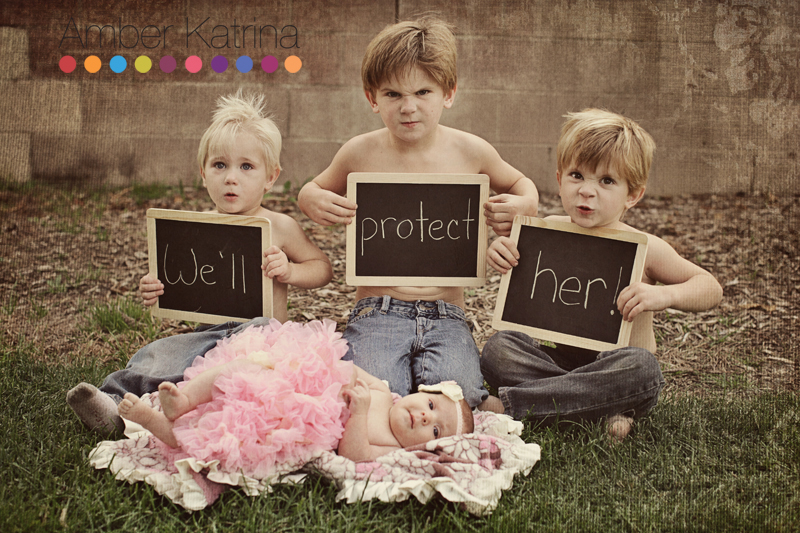 don't mess with her big brothers protect newborn baby girl photography