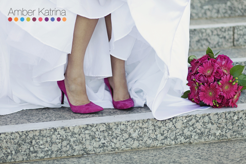 Los Angeles LDS Temple mormon Wedding bride pink shoes