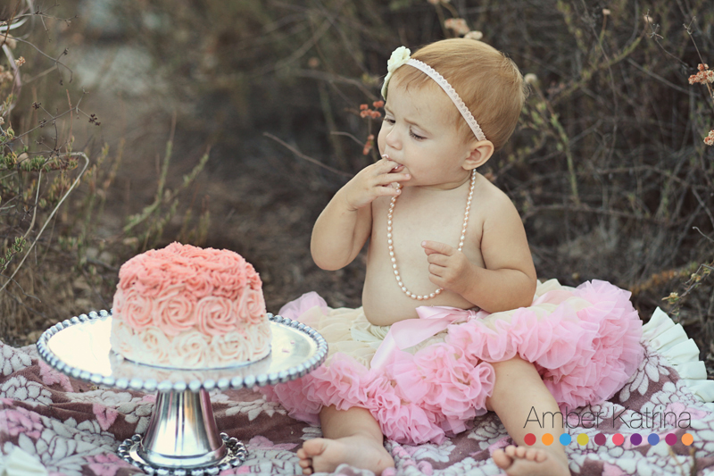 Baby's first year old pink rosette birthday cake smash in pasadena Eaton Canyon wilderness park