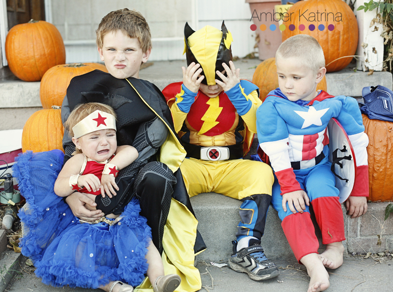 Halloween superhero kid costumes outtakes